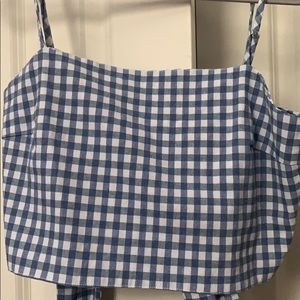 blue and white checkered crop top